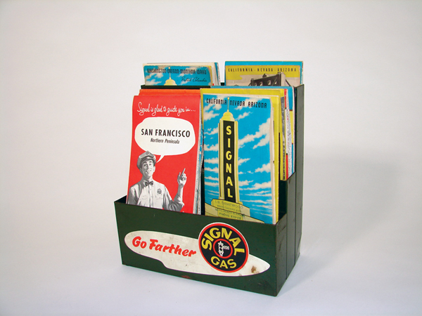 Seldom seem 1940s Signal Gasoline service station counter-top map rack. - Front 3/4 - 72173