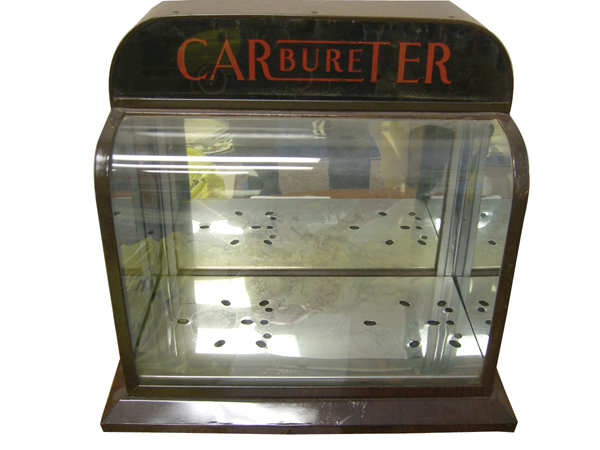 Phenomenal 1930s Carter Carbureters service garage display cabinet. - Front 3/4 - 72174