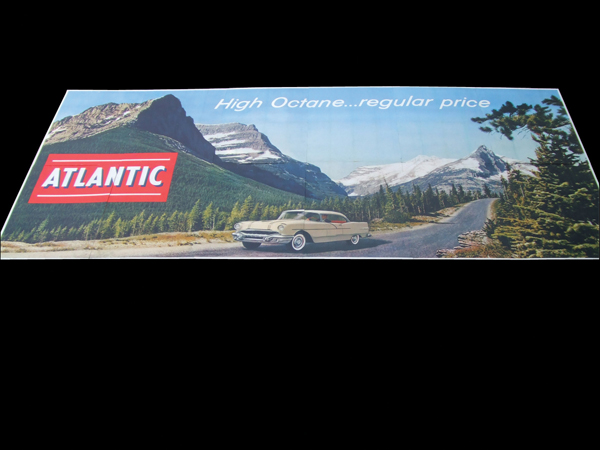 Incredible N.O.S 1956 Atlantic Gasoline billboard featuring a 1956 Pontiac. Captures a period of time with wonderful artwork... - Front 3/4 - 72189