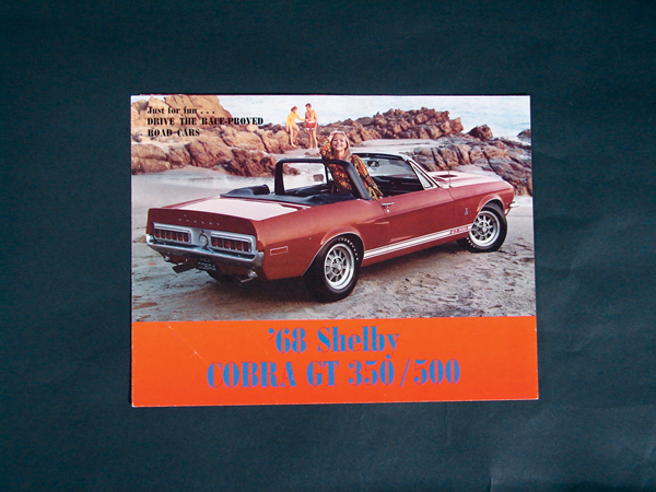 Fabulous 1968 Ford Shelby GT-350/500 tri-fold color sales brochure. - Front 3/4 - 72206