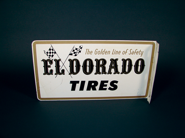 Neat EI Dorado Tires double-sided tin garage flange with checkered flag graphics. - Front 3/4 - 72210