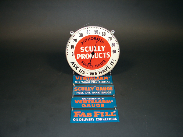 Unusual 1940s-50s Scully Products glass faced garage thermometer with sign attachments. - Front 3/4 - 72212