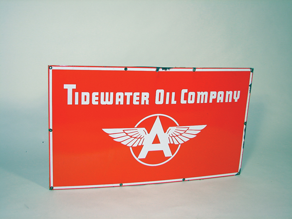 "Very rare 1940s Flying A ""Tidewater Oil Company"" single sided porcelain station sign. - Front 3/4 - 72218"