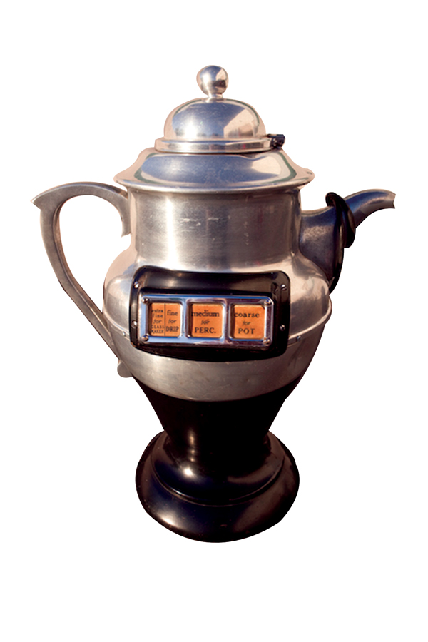 Nifty 1940s Coffee Pot shaped store display electric coffee grinder. - Front 3/4 - 72224
