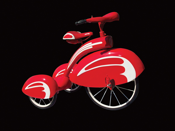 1930s Sears Art Deco tri-cycle restored to original red and white. - Front 3/4 - 72225