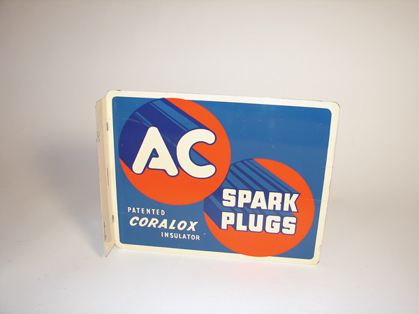 Nice N.O.S. 1950 AC Spark Plugs double- sided tin garage flange. - Front 3/4 - 72228