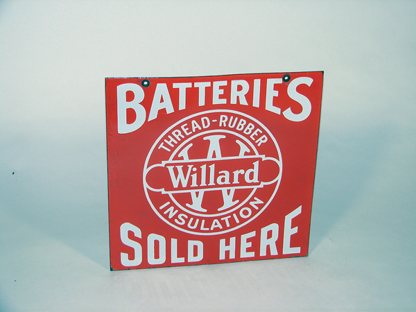 "Choice 1930s Willard Batteries ""Sold Here"" double-sided porcelain garage sign. - Front 3/4 - 72229"