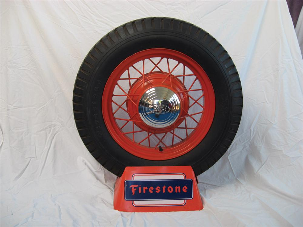 Unparalleled 1930s Firestone Tires metal garage display with period tire. - Front 3/4 - 72237