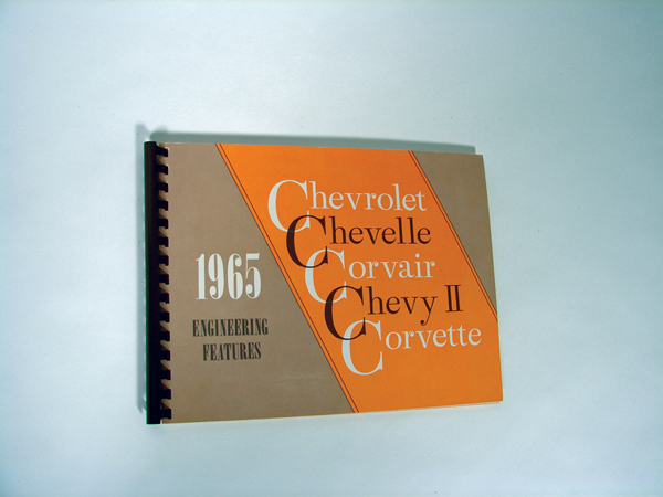 1965 Chevrolet Engineering Features 102 showroom sales catalog covering Impala SS, Chevelle, and more. - Front 3/4 - 72242