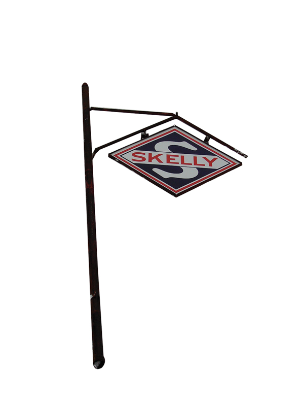 Marvelous 1940s-50s Skelly service station double-sided porcelain sign with original 16 pole. - Front 3/4 - 72247