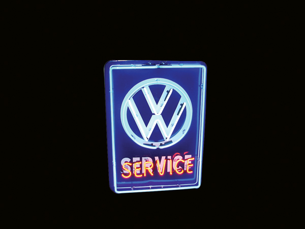 Hard to find late 50s-60s Volkswagen Automobiles single-sided neon porcelain dealership sign. - Front 3/4 - 72251