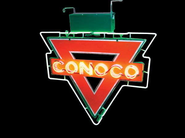 Circa 1940s Conoco Gasoline double-sided porcelain neon service station sign. - Front 3/4 - 72253