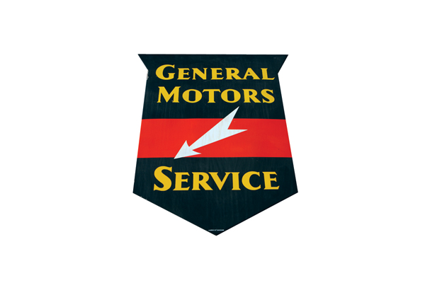 Hard to find  1940s General Motors Service single-sided porcelain garage sign. - Front 3/4 - 72257