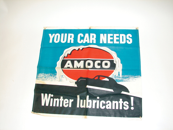"""N.O.S. 1940s Amoco """"Winter Lubrication""""  service station canvas banner.  Found unused. - Front 3/4 - 72261"""