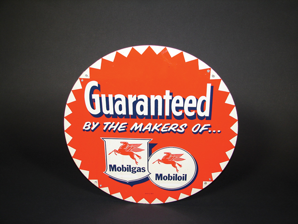 N.O.S. 1950s Mobilgas service station tin tire display sign. - Front 3/4 - 72263