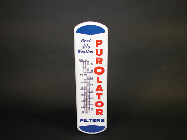 Very clean Purolator Filters tin painted garage thermometer. - Front 3/4 - 72265