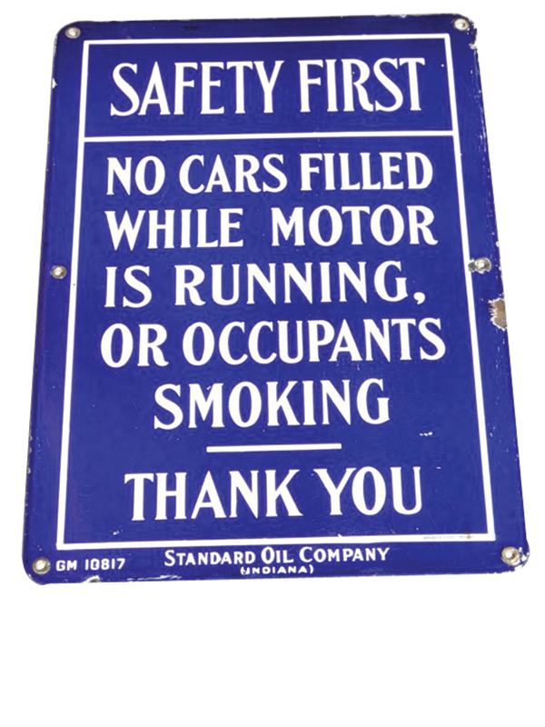 "Late 1920s Standard Oil porcelain ""Safety First"" service station island sign. - Front 3/4 - 72266"