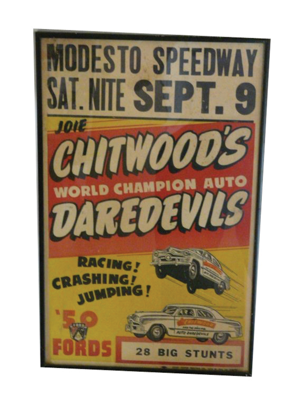 Vintage Joie Chitwoods Dare Devils Thrill Show poster. Great piece of Americana. - Front 3/4 - 72268