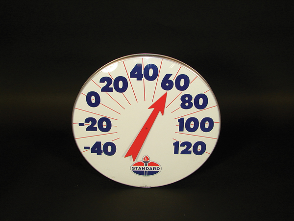 Very clean 1950s Standard Oil glass faced dial station thermometer. - Front 3/4 - 72270