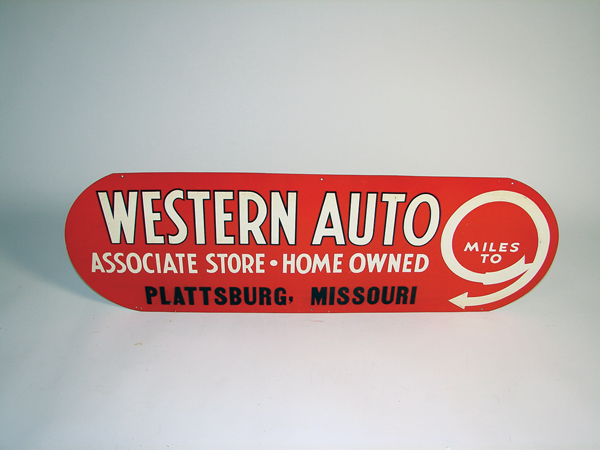 N.O.S. 1930s Western Auto single-sided tin garage sign. - Front 3/4 - 72271
