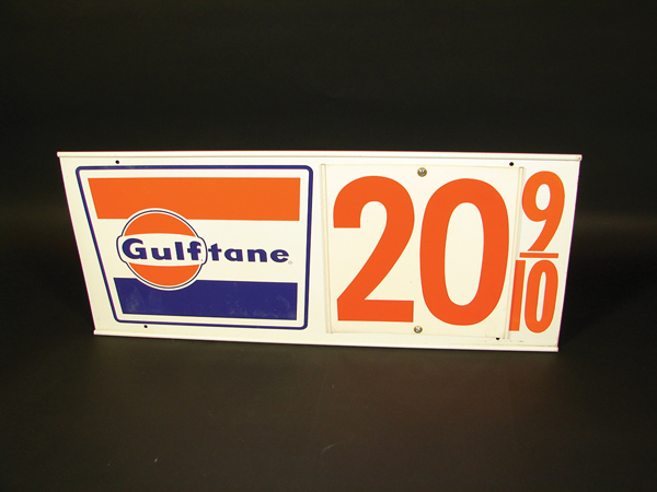 "N.O.S. early 1960s Gulf Gasoline ""Gulftane"" tin station price sign. - Front 3/4 - 72272"
