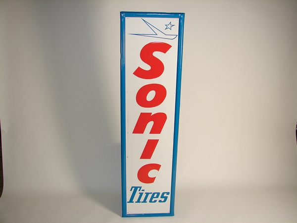 Late 1960s  Sonic Tires self-framed vertical tin garage sign. - Front 3/4 - 72274