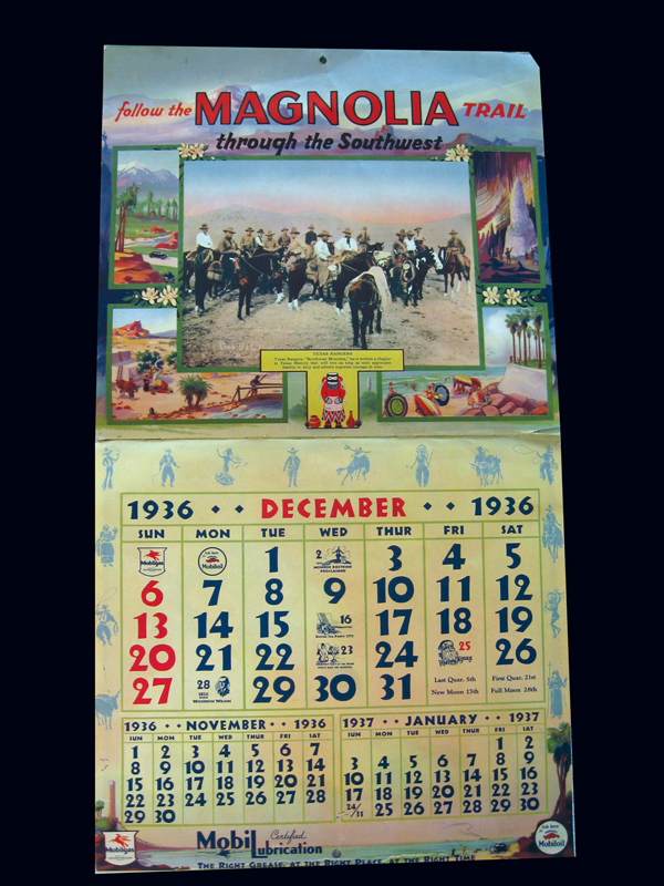 Phenomenal 1936 Magnolia (Mobil) Oil station promotional calendar with fantastic western theme. - Front 3/4 - 72281