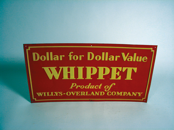 "5261 - N.O.S. 1930s Willys-Overland ""Whippet"" single-sided tin dealership sign. - Front 3/4 - 72289"