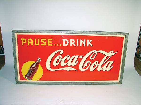 1940s Coca-Cola Pause-Refresh single-sided tin wood framed general store sign. - Front 3/4 - 72291