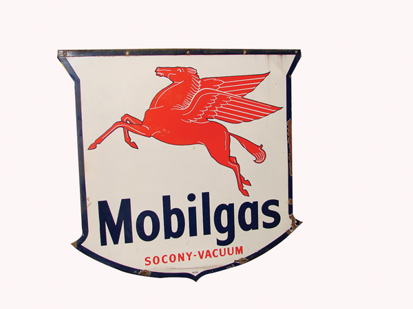 1946 Mobilgas double-sided porcelain shield shaped service station sign. - Front 3/4 - 72292