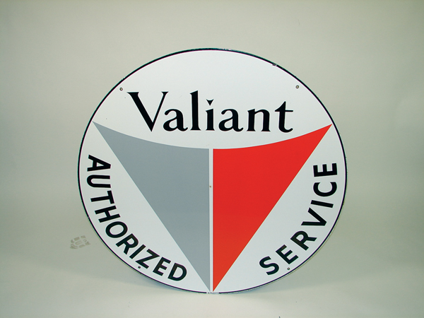 N.O.S. Plymouth Valiant Authorized Service dbl-sided sign. - Front 3/4 - 72300