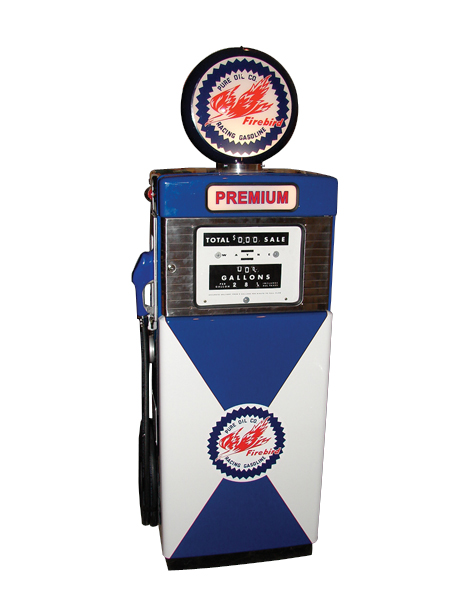 Fabulous 1956 Pure Firebird racing Gasoline Wayne #500 gas pump. - Front 3/4 - 72303