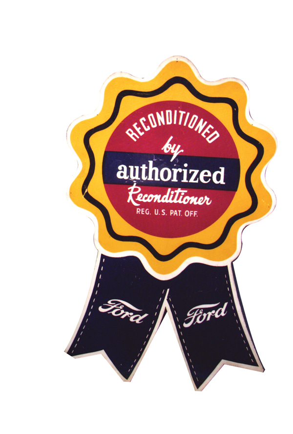 Rare 1940-50s Ford Authorized Reconditioned single-sided tin dealership sign. - Front 3/4 - 72305