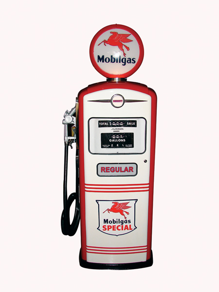 Immaculate 1950s Mobil gasoline service station gas pump. - Front 3/4 - 72306