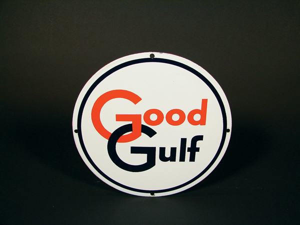 N.O.S. late 50s Good Gulf Gasoline single-sided porcelain pump plate sign. - Front 3/4 - 72318