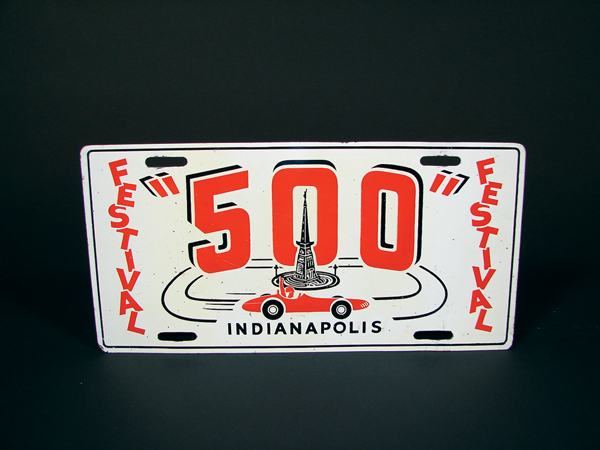Highly collectible 1950s Indianapolis 500 Festival single-sided tin sign. - Front 3/4 - 72334