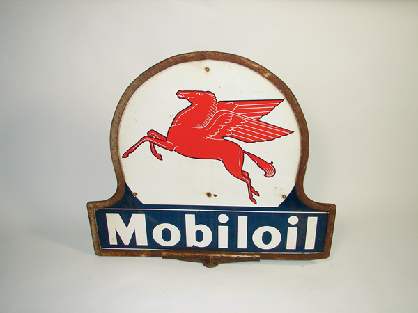 1940s Mobil Oil double-sided porcelain curb sign with Pegasus logo. - Front 3/4 - 72337