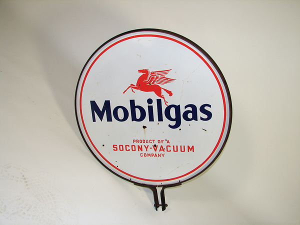 1940s Mobilgas double-sided porcelain service station curb sign with Pegasus logo. - Front 3/4 - 72338