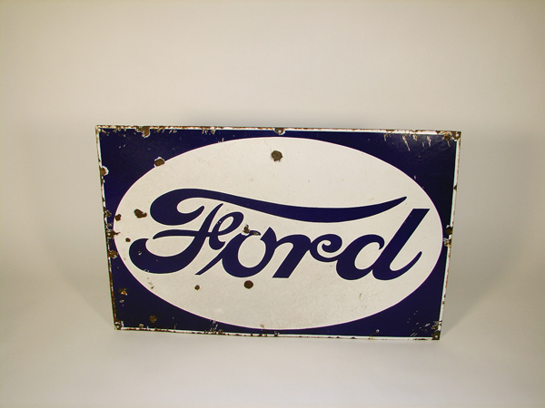 1930s Ford Automobiles single-sided porcelain garage sign. - Front 3/4 - 72339