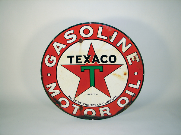 1930s Texaco Motor Oil double-sided porcelain service station sign. - Front 3/4 - 72340