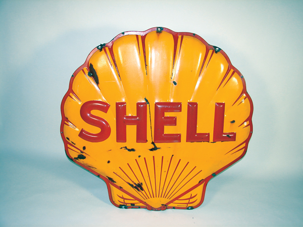 1941 Shell Oil heavily embossed porcelain service station sign. - Front 3/4 - 72341