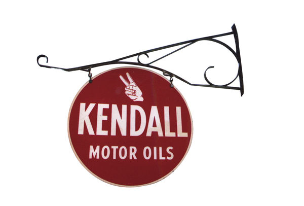 Choice 1950s Kendall Motor Oil double-sided tin garage sign with original hanging bracket. - Front 3/4 - 72349