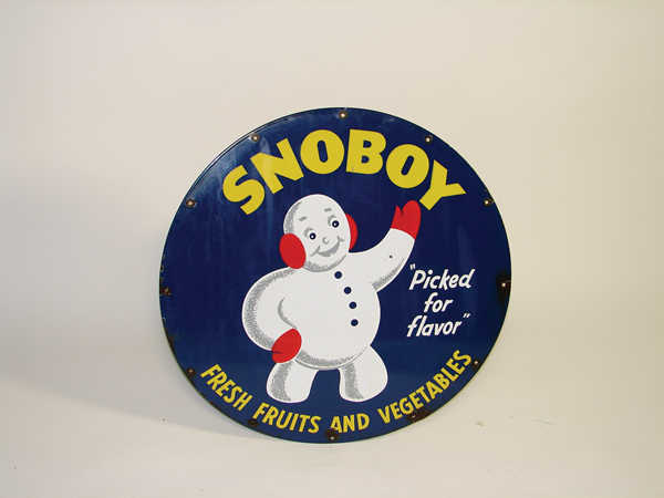 """Highly desirable 1940s SnoBoy """"Fruits and Vegetables""""  single-sided porcelain sign. - Front 3/4 - 72353"""