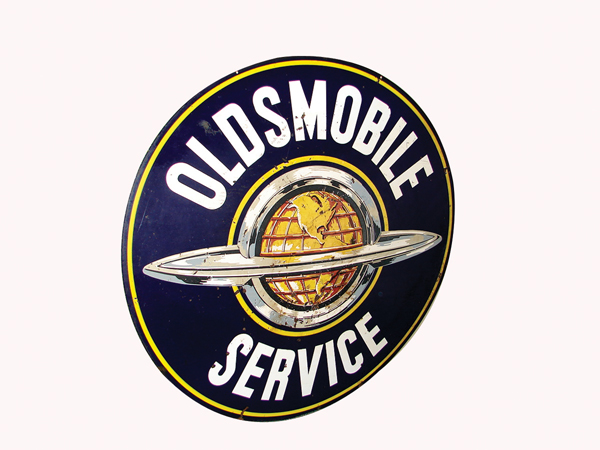 Large 1950s  Oldsmobile Service double-sided porcelain garage sign. - Front 3/4 - 72357