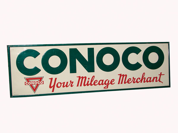 Very nice 1947 Conoco wood framed single-sided tin service sign. - Front 3/4 - 72381