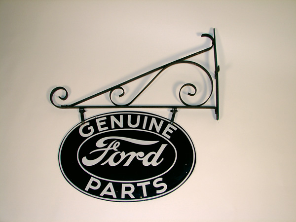 Awesome 1930s Ford Genuine Part double-sided porcelain garage sign. - Front 3/4 - 72382