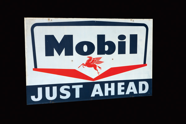 "Large 1950s Mobil ""Just Ahead"" single-sided tin wood framed garage sign. - Front 3/4 - 72447"