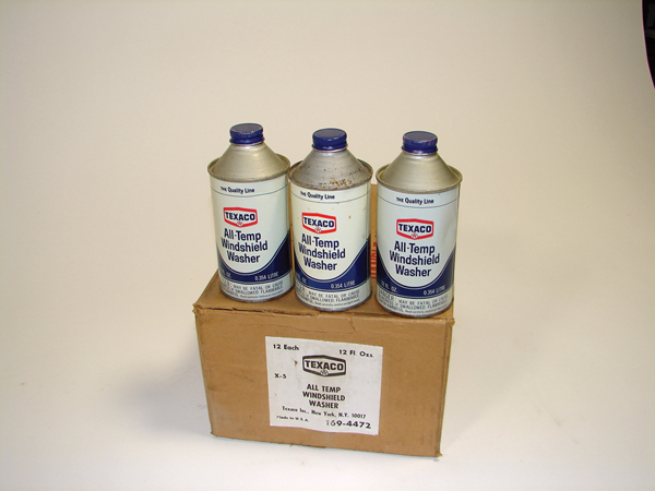 N.O.S. box of 12 Texaco Windshield Washer 12 ounce cone shaped tins.  Still full! - Front 3/4 - 72448
