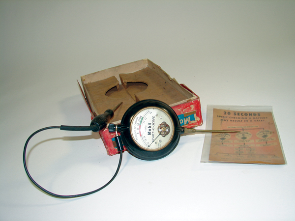 "1940s Mobil Start-O-Scope battery tester still in the original box.  Size 7""x10""x2"" - Front 3/4 - 72449"
