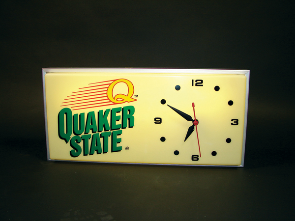 1960s Quaker State Motor Oil rectangular light-up station clock. - Front 3/4 - 72451